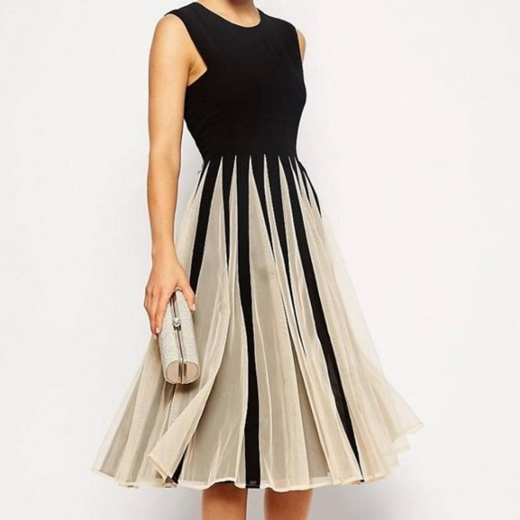 ASOS Dresses & Skirts - ASOS Black Cream Tulle Mesh Fit And Flare Dress